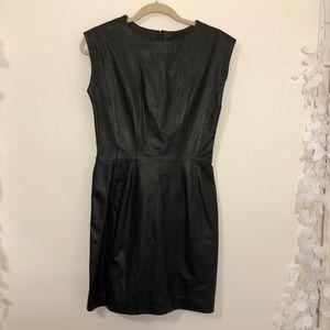 Ambria black leather sleeveless sheath dress